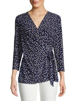 Polka Dot Ity Wrap Top by Anne Klein