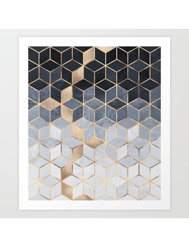 Soft Blue Gradient Cubes Art Print by