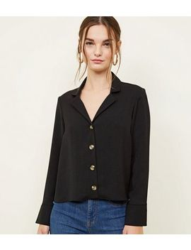 Petite Black Revere Collar Boxy Shirt by New Look