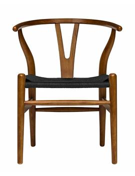 Hans Wegner Wishbone Style Woven Seat Chair (Rustic White With Natural Cord) by Laura Davidson Furniture