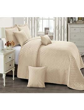 Inspiration Bedspread Comforter 3 Pieces Border Quilted Bed Throw 1 Bedspread 2 Pillow Shams (Ins Beige, Super King) by Thl