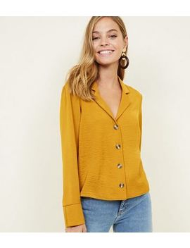 Petite Mustard Revere Collar Boxy Shirt by New Look