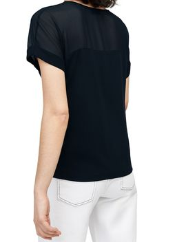Sheer Panel Short Sleeve Top by Warehouse
