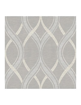 A Street Prints Symetrie Frequency Ogee Wallpaper In Grey by Bed Bath And Beyond