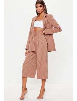 Rust Pinstripe Paperbag Waist Culottes by Missguided