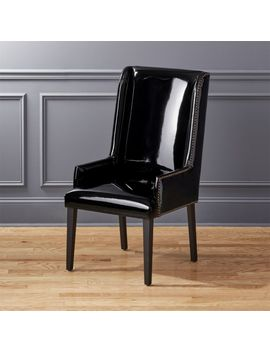 Reynolds Black Patent Leather Chair by Crate&Barrel