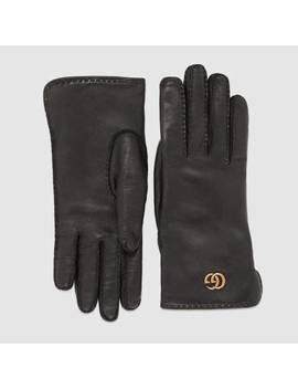 Leather Gloves With Double&Nbsp;G by Gucci