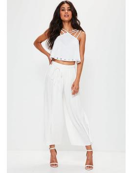 Petite White Pleated Skinny Tie Belt Culottes by Missguided