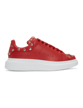 Red Studded Oversized Sneakers by Alexander Mcqueen