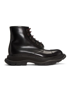 Black Tread Lace Up Boots by Alexander Mcqueen