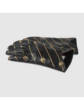 Leather Gloves With Double G Stripe Print by Gucci