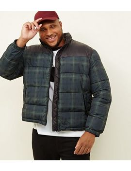 Plus Size Navy Check Puffer Jacket by New Look