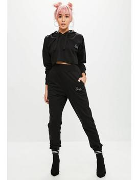 Barbie X Missguided Black Diamante Joggers by Missguided