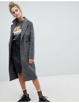 Bershka Herringbone Car Coat In Multi by Bershka