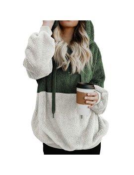 711 Onlinestore Women Fuzzy Fleece Drawstring Zipped Front Long Sleeve Hoodies Outwear by 711 Onlinestore