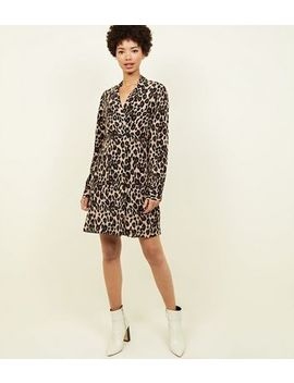 Brown Leopard Print Double Breasted Shirt Dress by New Look