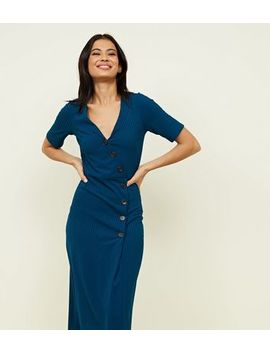 Teal Ribbed Button Wrap Midi Dress by New Look