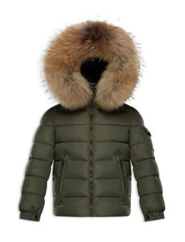 Boys' Fur Trimmed Puffer Jacket   Big Kid by Moncler