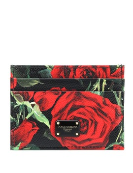 Floral Printed Leather Card Holder by Dolce & Gabbana