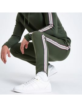 Khaki Green Side Tape Slim Fit Joggers by River Island