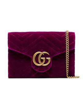 Fuchsia Gg Marmont Velvet Wallet On A Chain by Gucci