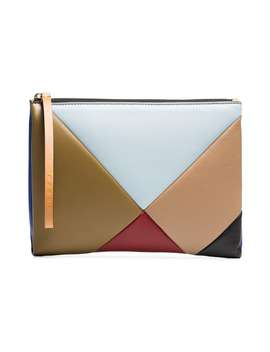 Multicoloured Geometric Leather Pouch by Marni