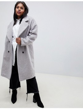 Glamorous Curve Double Breasted Coat In Textured Wool by Glamorous