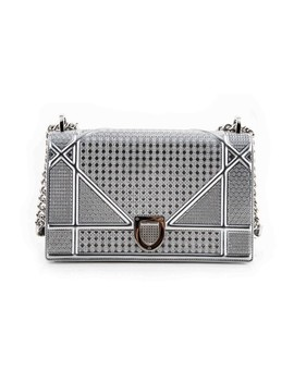 Silver Tone Metallic Micro Cannage Motif Diorama Silver Calfskin Leather Shoulder Bag by Dior