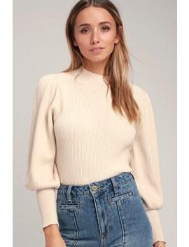 Eugenie Cream Balloon Sleeve Sweater by Lulus