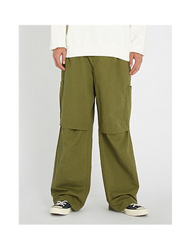 Panelled Relaxed Fit Straight Cotton And Linen Blend Trousers by Ambush