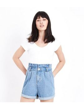 Blue Paperbag Waist Denim Shorts by New Look