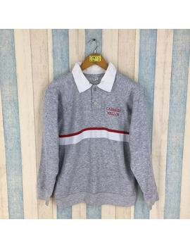 Champion Polo Shirt Medium Gray Vintage 90's Carnegie Mellon Sportswear Athletic Apparel Champion Longsleeve Polo Rugby Shirt Size M by Etsy