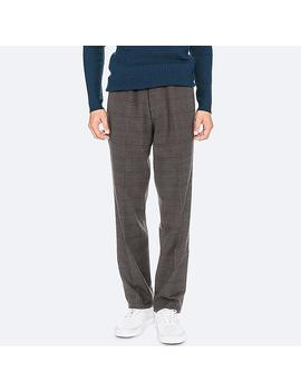 Men Heattech Checked Slim Fit Trousers (L34) by Uniqlo