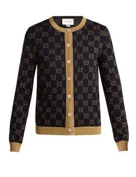 Gg Jacquard Knit Cotton Blend Cardigan by Gucci