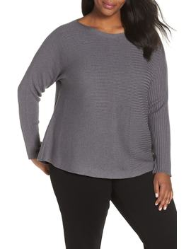 Mix Rib Cotton & Silk Blend Sweater by Eileen Fisher