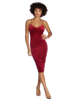 Smooth Luxuries Velvet Midi Dress by Windsor