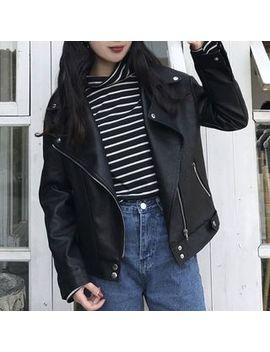 Yako   Faux Leather Biker Jacket by Yako