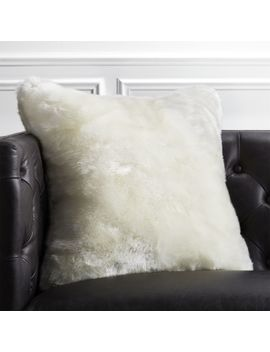 "20"" Premium White Faux Fur Pillow by Crate&Barrel"