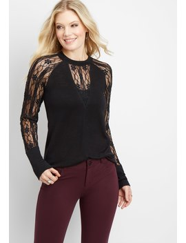 Lace Sleeve Deep V Neckline Top by Maurices