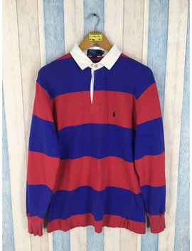 Polo Sport Rugby Shirt Medium Vintage 1990's Polo Ralph Lauren Stripes Red/Blue Multicolour Polo Sport Rl 67 Longsleeve Shirt Size M by Etsy