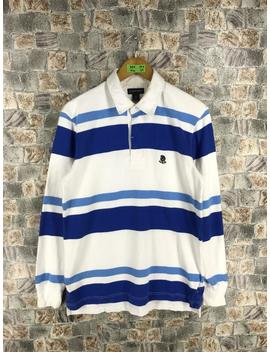 Vintage Lands'end Polo Shirt Mens Medium 90's Striped Blue/White Stripes Polo Rugby Sportswear Streetwear Shirt Size M by Etsy