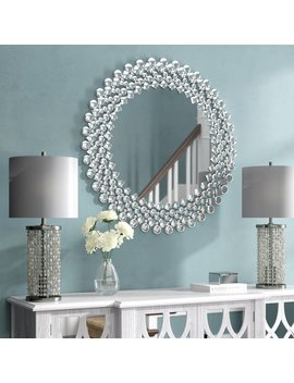 Best Quality Furniture Round Crystal Wall Mirror & Reviews by Best Quality Furniture