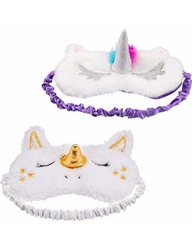 Maxdot 2 Pieces Unicorn Sleeping Mask Cute Unicorn Horn Plush Blindfold Eye Cover (Gold And Multicolor) by Maxdot