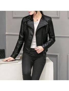 Mimith   Faux Leather Zip Biker Jacket by Mimith