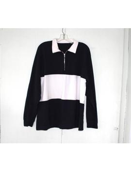 Basic Black And White 1/2 Zip Rugby Shirt No Tags. Sz  Large by Etsy