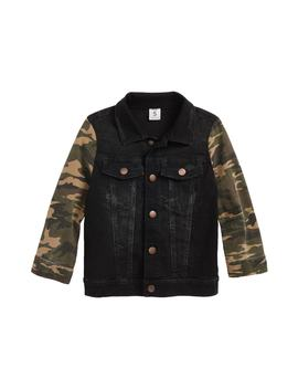 Camo Sleeve Denim Jacket (Toddler Boys, Little Boys & Big Boys) by Stem