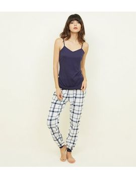 Navy Check Pyjama Set by New Look
