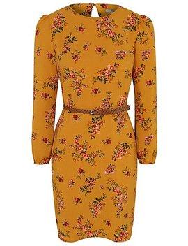 Mustard Floral Long Sleeve Belted Tea Dress by Asda