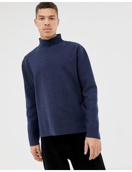 Asos White Boxy Jumper In Dark Blue Structured Knit by Asos White