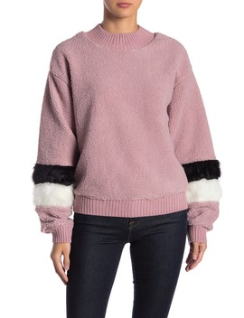 Faux Fur Balloon Sleeve Sweater by Allison New York